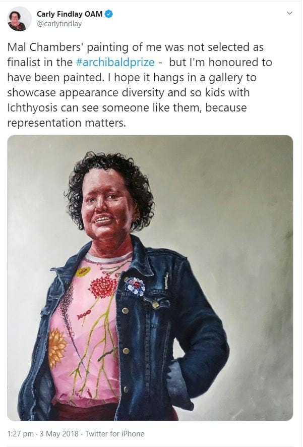 Carly Findlay tweet about being painted for an Archibald Prize submission