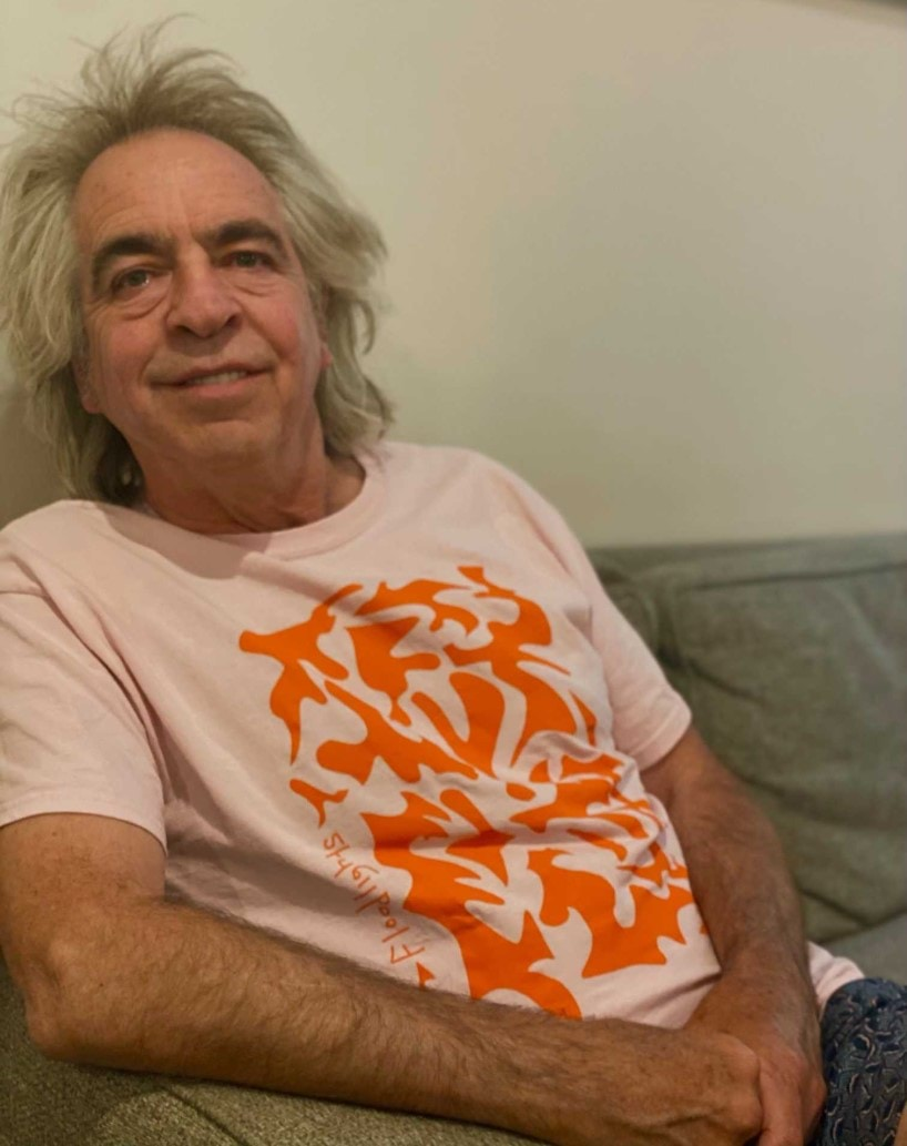 Brian Nankervis wears ]band t-shirt from local band Floodlights