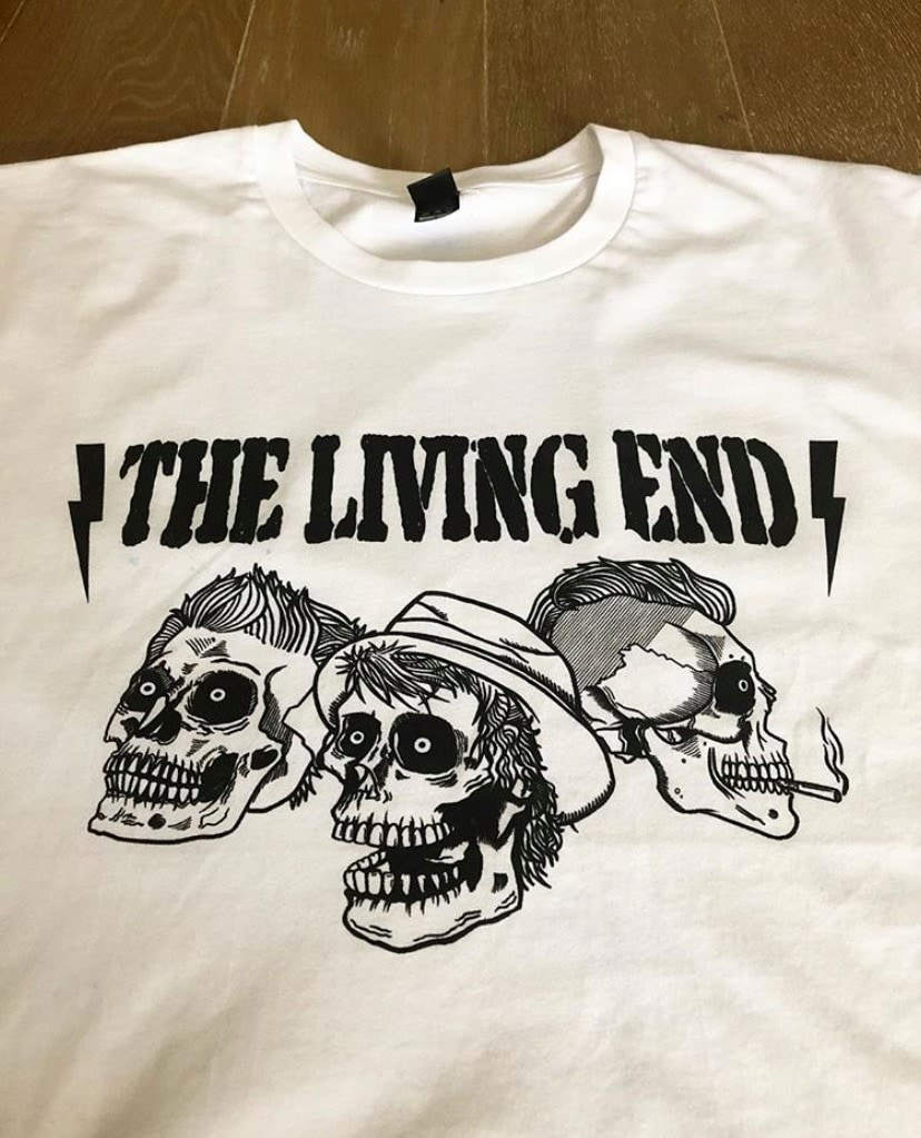 a tshirt design by local artist Hingrito for aussie band The Living End, band members' depicted as skeletons