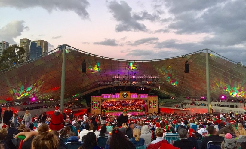 Melbourne's iconic Sidney Myer Music Bowl at dusk
