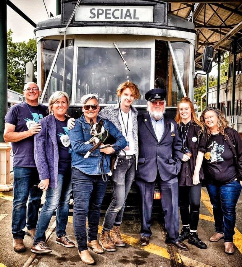 L - R: Ross Perry, Ange Perry, Anna Scionti, Charlie Bedford, Tram Driver Greg, Suilven Byrne, Gayle Freemantle
