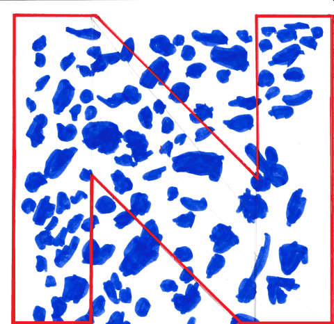 The letter 'N' is outlined in red against a white background, with a mass of irregular royal blue shapes coloured in texta behind and through the letter