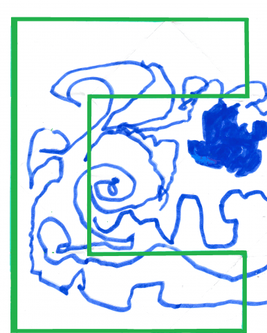 A square-edged letter 'C' is outlined in bright green against a white background, with squiggles and filled areas in royal blue texta
