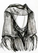 Black and white sketch of a wimple headdress worn by women in medieval times